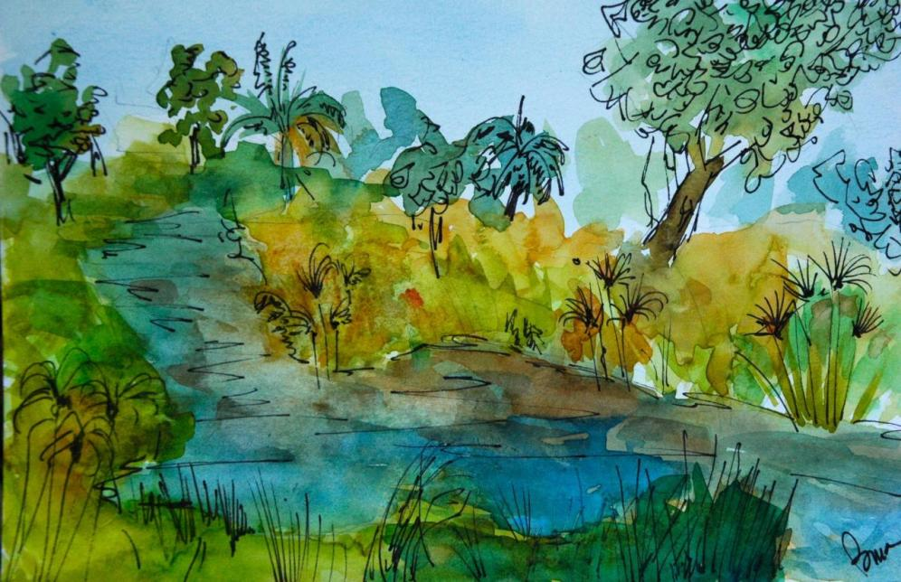 "An Okavango Delta channel as seen from Xigera Camp, Botswana. Watercolor and ink on paper, 5x7"" $100"