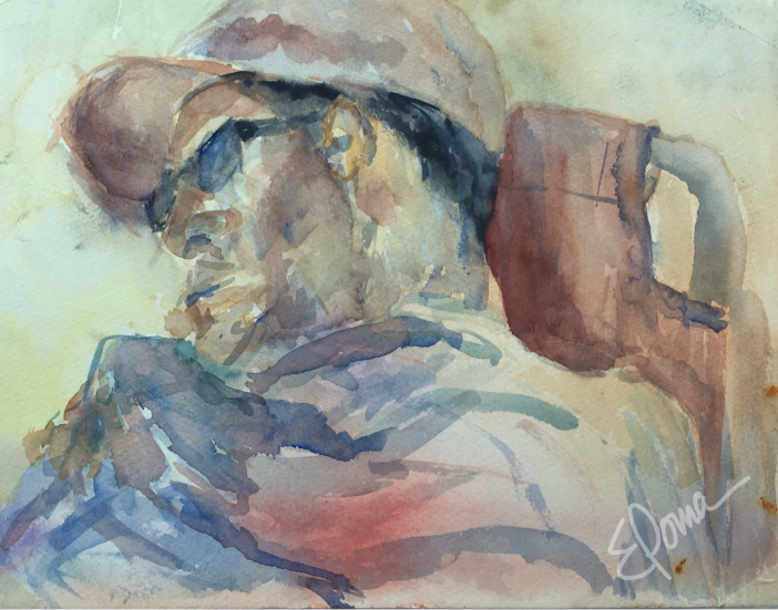 Asleep in Bethany, watercolor on paper