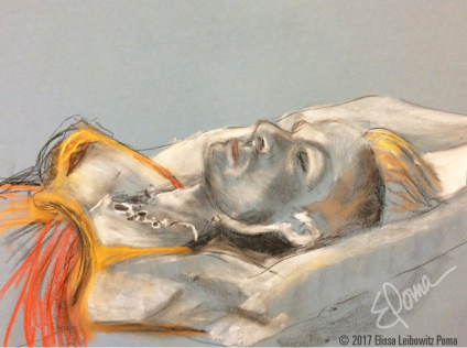 In repose, pastel, chalk and charcoal on paper