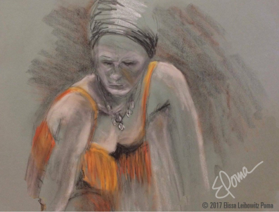 Mardi Gras, pastel, chalk and charcoal on paper