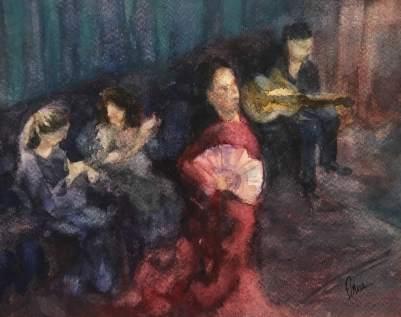 Flamenco Show, watercolor on paper