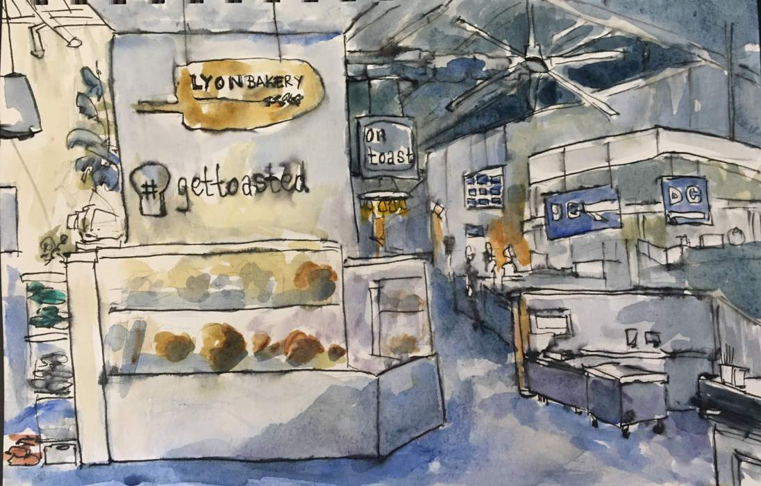 Union Market Bakery, watercolor and ink on paper