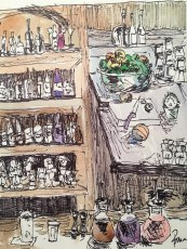 Republic Happy Hour (Takoma Park), watercolor and ink on paper