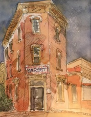 Freedom Market (DC), watercolor and ink on paper