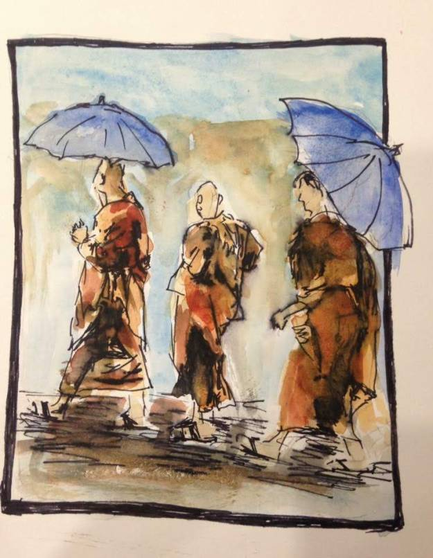 Monks in the Rain, watercolor and ink on paper