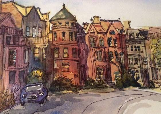 Logan Circle West #2, watercolor and ink on paper