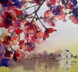 Cherry Blossoms #5, watercolor and ink on paper