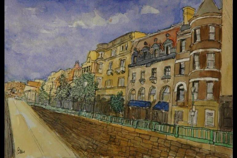 Dupont Circle Underpass, watercolor and ink on paper
