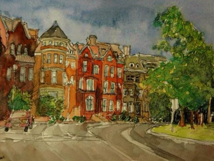 Logan Circle West #1, watercolor and ink on paper