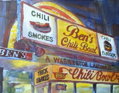 Ben's Chili Bowl, acrylic on paper