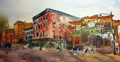 Chinatown Gate, watercolor and ink on paper
