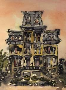 Grant Mansion, Logan Circle, watercolor and ink on paper