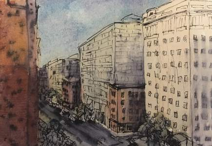 Penn Quarter Shaded, watercolor and ink on paper
