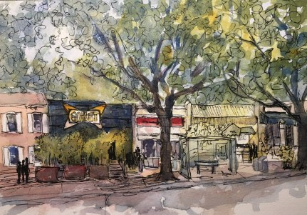 Comet Ping Pong (Chevy Chase DC), watercolor and ink on paper