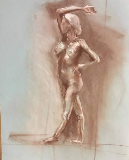 Extended Stretch, pastel and chalk on paper